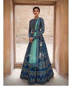 Make a grand entry at the wedding adorning this meticulously handcrafted lehenga ensemble by Vasansi Jaipur. Whatsapp us now for personal shopping experience! Call/WhatsApp for Purchase Inqury : Lehnga Dress, Bridal Lehenga Choli, Indian Lehenga, Blue Lehenga, Designer Bridal Lehenga, Ghagra Choli, Anarkali Lehenga, Pakistani Lehenga, Indian Wedding Lehenga