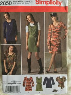 Simplicity Womens Knit Mini Dress Top and Hat Sewing by Vntgfindz