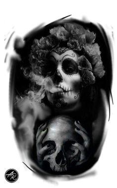 Tatuagem mexicana anta muerte chicana catrina