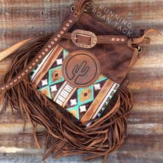 Turquoise & Cocoa Aztec Cross Body Handbag with Cactus Leather Patch and Fringe by Running Roan Tack