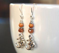 Beaded Om Earrings Ohm Charm Czech Glass Beads and by BoulderBeads