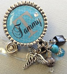 Nurse ID Badge Reel Personalized Name Silver Pendant  - RN, medical office, teacher gift, nurse.