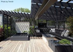 Chicago rooftop terrace and pergola. Chicago rooftop terrace and pergola. Outdoor Rooms, Outdoor Decor, Built In Seating, Garden Design, Rooftop Design, Outdoor Design, Outdoor Spaces, Timber Pergola