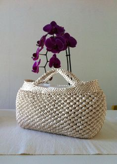 Borsa mod. Sandrine in coda di topo color latte