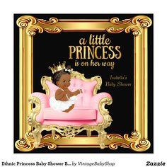 Ethnic Princess Baby Shower Black Pink Gold Chair Invitation