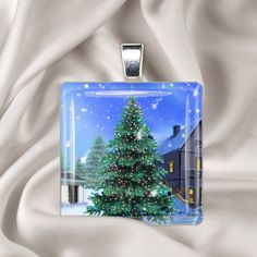 Christmas Necklace Christmas Eve  Holiday Square Glass by Analiese, $8.00