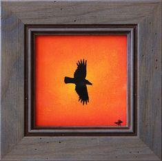 Titre de l'œuvre : Evasion. œuvre réalisée au Posca ( style de peinture acrylique ) sur toile de lin blanchi.  Format de l'œuvre ( sans cadre ) : 8,8 cm x 8,8 cm. Diamètre de l'œuvre ( sans cadre ) : 12,4 cm.  Format de l'œuvre ( avec cadre ) : 14 cm x 14 cm x 1,5 cm. Diamètre de l'œuvre ( avec cadre ) : 19,7 cm.  Poids précis de l'œuvre ( avec cadre ) : 157,5 g.  Date de réalisation : 07 / 2015  Prix : 30 Euros. #evasion #corbeau #art #vol #oiseau #œuvre #posca #tableau #moderne #design