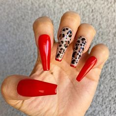Red Acrylic Nails, Acrylic Nail Designs, Leopard Nail Designs, Red Nail Designs, Glue On Nails, Gel Nails, Red Tip Nails, Long Red Nails, Red Matte Nails