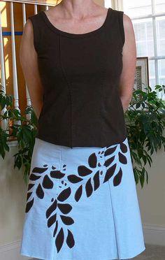 Alabama Chanin applique leaf skirt