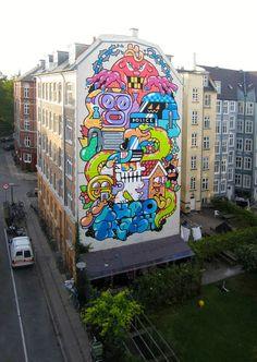 """""""Euro Trash"""" in Copenhagen by Grito #streetart #art"""