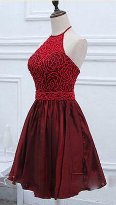 Sleeveless Dark Red Taffeta Homecoming Dresses A lines