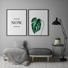 Set of 3 posters. Palm Leaves Quote: yesterday Now tomorrow Yoga Studio Home, Yoga Studio Decor, Apartment Decoration, Meditation Space, Bedroom Art, Decorating Small Spaces, New Room, Frames On Wall, Printable Wall Art