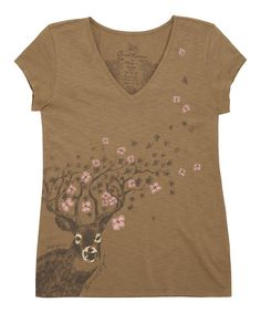 Another great find on #zulily! Mellow Brown Deer Blossoms Topnotch V-Neck Tee - Women by Life is good® #zulilyfinds