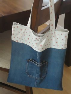 Upcycled Denim Bag Pink and Blue Calico Cotton by sweetpeapurses