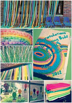 Oh, The Places You'll Go, Preschool Graduation Party - streamers made by the kids, hot air balloon memories