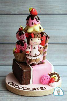 Chocolate Girl topper Chocolate Girls, Chocolate Dreams, Pastry Art, 3d Cakes, Fondant Toppers, Sugar Paste, Amazing Cakes, Beautiful Cakes, Cake Art