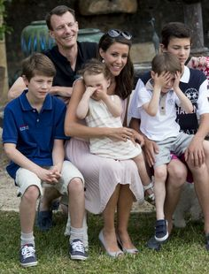 Prince Joachim of Denmark and Princess Marie of Denmark with Prince Felix of Denmark, Prince Henrik of Denmark, Prince Nikolai of Denmark and Princess Athena of Denmark attending a Photocall at Chateau de Cayx on June 11, 2014 in Luzech, France.