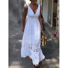 Feb 2020 - Material: Polyester Silhouette: A-Line Dress Length: Floor-Length Sleeve Length: Sleeveless Neckline: V-Neck Combination Type: Single. Lace Tunic, Lace Maxi, Lace Skirt, Plain Dress, White Dress, White Lace Dresses, Elegant Maxi Dress, Robes Midi, Vestido Casual