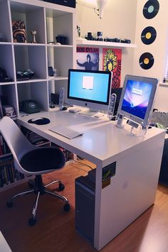 70 Office Workspaces   Inspiration   Part 18 // Don't they sell this at Ikea? Looks like ample room for my monitor... but may not be enough room