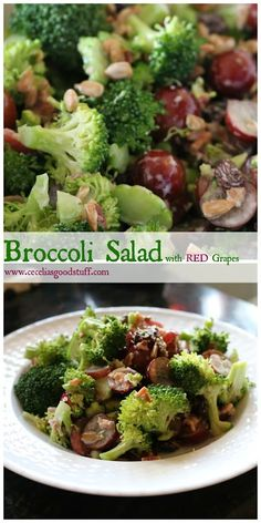 Healthy Low Fat Broccoli Salas with fresh grapes, raisins and sunflower seeds. http://ceceliasgoodstuff.com/low-fat-broccoli-salad   Cecelia Dardanes - Google+