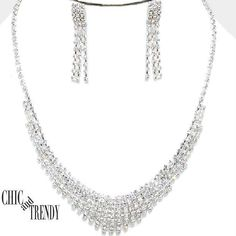PETITE CLEAR CRYSTAL PROM WEDDING FORMAL NECKLACE JEWELRY SET CHIC AND TRENDY   #Unbranded