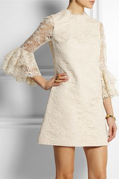 saint laurent|guipure lace and silk-faille mini dress|spring 2015