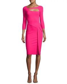 c97fa0280f739 Chiara Boni La Petite Robe Sunny 3/4-Sleeve Cutout Cocktail Dress, Fuchsia