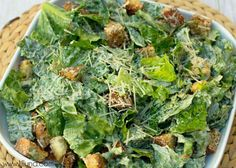 Delicious Homemade Caesar Salad with Homemade Croutons recipe on { lilluna.com } Very easy and the prefect side salad.