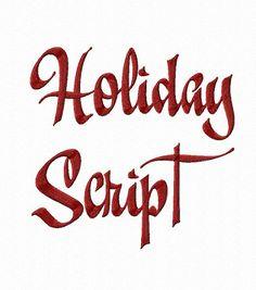 Holiday Script Machine Embroidery Font Monogram Alphabet - 3 Sizes