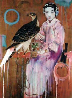 Hung Liu pintura ave halcon chino japon
