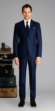 Marine Blue Birdseye Custom Suit is part of Stylish mens outfits - Get this marine blue birdseye suit made with Vitale Barberis Canonico, Super wool made to your exact measurements and customized just the way you want it Dress Suits, Men Dress, Blue Suit Men, Navy Suits, Marine Blue Suit, Blue Suit Black Tie, Navy Blue, Custom Made Suits, Mode Costume