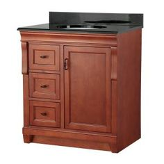 Naples 31 in. W x 22 in. D Vanity in Warm Cinnamon with Left Drawers with Colorpoint Vanity Top in Black-NACACB3122DL at The Home Depot  $360