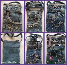 Denim Cross Body Bags with a top zip closure.