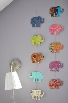 DIY Art - 34 DIY Dorm Room Decor to Spice up Your Room . → DIY -Use scrapbook paper, string, and outline of elephant Diy Dorm Decor, Dorms Decor, Dorm Decorations, Elephant Decorations, Dorm Room Crafts, Diy Diwali Decorations, Easy Wall Decor, Hanging Paper Decorations, Homemade Wall Decorations