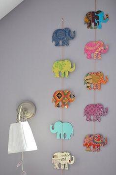 DIY Paper Garland : DIY Elephant Garland Made From Scrapbook Paper