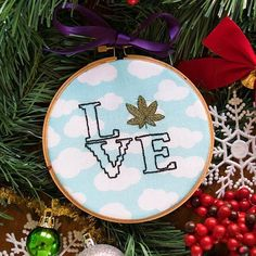 Spread some love this holiday season!  Shop our selection of cross stitch ornaments from @heathenhandmade at mmjco.com!  #crossstitch #missmaryjane #missmaryjaneco #blackfriday #love #weed #crossstichlove