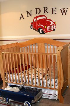 Love this!! We even have a little hot rod car to put in the room. :)