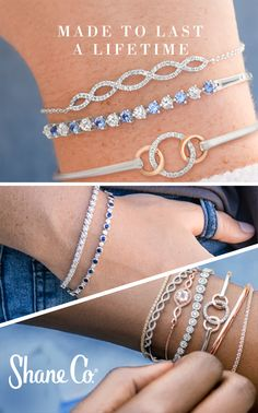 Stackable bracelets. Own the trend with these style ideas. Start with our 300+ styles from chic to classic. Stack bright colors for a bold look. Mix contrasting textures and shapes. Two or more tennis bracelets make elegant stacks. Our superior quality standards ensure our jewelry withstands your active lifestyle, and that the stones are always secure and sparkle with equal brilliance.