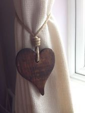 Pair Of Handmade Offset Dark Wooden Heart Curtain Tie Backs. With Jute Rope Tie. on ETSY.