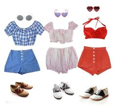 A fashion look from July 2017 featuring short-sleeve blouse, high rise shorts and rockabilly shoes. Browse and shop related looks. Lolita Fashion, 70s Fashion, Fashion 2020, Vintage Fashion, Fashion Outfits, Fashion Ideas, Pretty Outfits, Cool Outfits, Summer Outfits