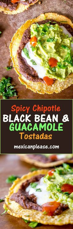 Serious reward to effort ratio in these tostadas!  We're crisping a corn tortilla and loading it up with spicy black bean puree and a refreshing guacamole.  So good!  This version is vegetarian but feel free to get creative with the toppings!   mexicanplease.com