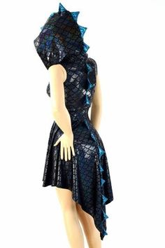 Black Dragon Hoodie Skater Dress - Coquetry Clothing