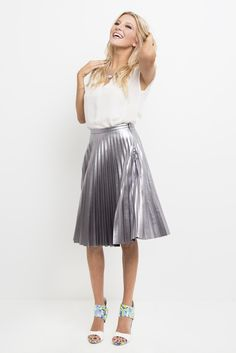 cf1fd715a0969 Dazzle the onlookers in this spectacular metallic pleated midi skirt! The  classic knife pleats get a sharp, space-aged update to bring preppy chic  into the ...