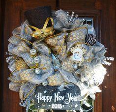Deco Mesh HAPPY NEW YEAR Wreath 2015 by decoglitz on Etsy