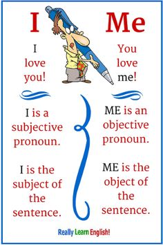 """English lesson: The phrases """"You and I"""" and """"You and Me"""" are confusing for many English learners. Even some native speakers have difficulties with this! In this lesson, you will learn the differences between the English pronouns I and Me. You will also learn a trick to help you use them correctly in sentences. (ESL, ELL, teach English)"""