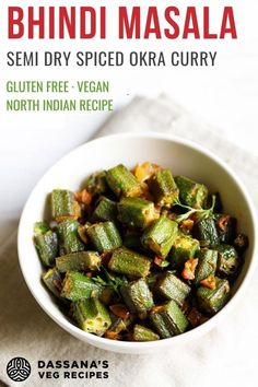 This is a delicious bhindi masala recipe that I often make at home. this masala bhindi recipe is easy to make and is a semi dry spiced okra curry. Thus goes very well with some soft phulkas or rotis. Gluten-free and vegan. Okra Recipes, Curry Recipes, Vegetarian Recipes, Healthy Recipes, Recipies, Indian Vegetable Recipes, Vegetable Dishes, Indian Food Recipes, Bhindi Masala Recipe