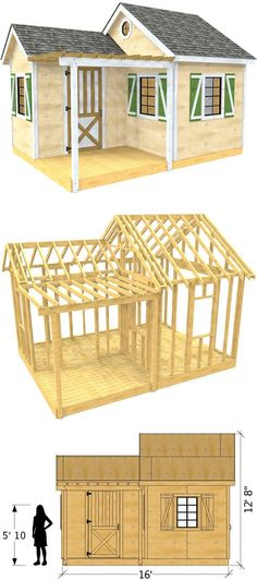 """The """"Wallace"""" shed plan is x 192 ft² gable roof wooden storage shed with side porch and pergola. There are total of six windows with double door entrance from the right side wall. Wooden Storage Sheds, Shed Storage, Shed Plans, House Plans, Shed Kits, Backyard Sheds, Garden Sheds, Side Porch, Shed Homes"""