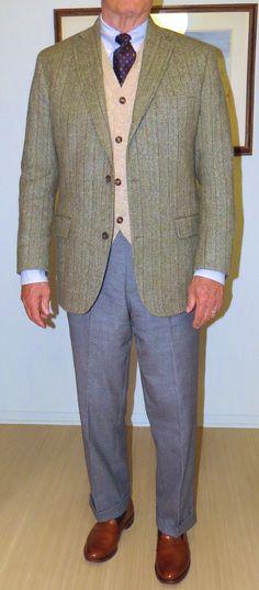 J. Press Donegal Mist Olive sport coat (JJ Campbell, handweaver) O'Connell's Shetland Cable knit, Cardigan sweater vest, BB Uni Stripe OCBD, J. Press foulard tie, AE tan belt (not shown), LE Medium Gray Flannels, LE OTC socks, AE tan Westchester slip-ons.