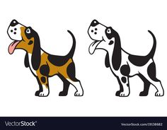 dog logo. Happy cartoon pet looking up and smiling. Side view vector illustration. Download a Free Preview or High Quality Adobe Illustrator Ai, EPS, PDF and High Resolution JPEG versions.