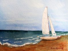 """Beached Sailboat"" Original Watercolor Landscape Painting Copyright © 2012 by Barbara Rosenzweig, 8x10 $190 Etsy, art prints available"